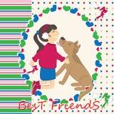 Dog kiss the girl Stock Image