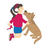 Dog kiss the girl Stock Images