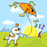 Dog with kite Stock Photography