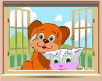 Dog and kitten peeking out the window from the back of the house. Cartoon on white background, vector Stock Images