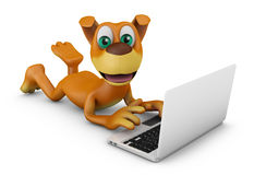 Dog with a laptop Royalty Free Stock Images