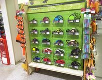 Dog leads or leashes for sale  in a pet shop. Stock Photography