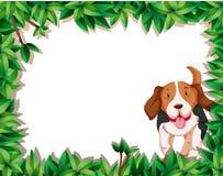 Dog in leaf frame. Illustration stock illustration