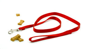Dog Leash and Biscuits Royalty Free Stock Photo