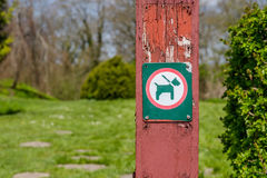 Dog in leash sign Stock Photography