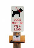 Dog on leash sign on white background Royalty Free Stock Images