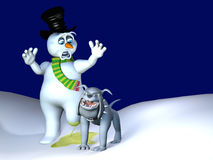 Dog Leg Lift - Snowman Melt. A bull dog lifting his leg and peeing on a snowman, melting one of his legs Stock Photo