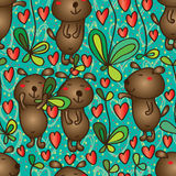 Dog like fresh seamless pattern. Illustration cute brown dog design like fresh plant seamless pattern green color red background element graphic Royalty Free Stock Image