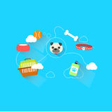 Dog link with accessories and toy. With dash line illustration Royalty Free Stock Photography