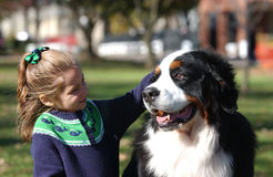 Dog with little girl Royalty Free Stock Images