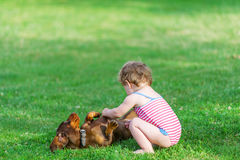 Dog and little girl. stock photos
