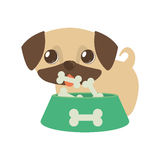 Dog little tongue out bowl food b print Stock Photo