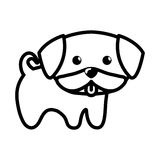 Dog little tongue out outline Royalty Free Stock Photo