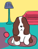 Dog in the living room. Big white and brown dog in a living room stock illustration