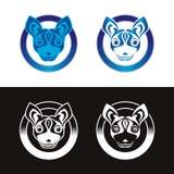 Dog Logo with ribbon and circle design royalty free stock images
