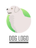 Dog Logo Vector of Maremma Sheepdog Breed Dog Stock Image