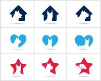 Dog logos set, pet and animal health and care hospital  icons, low poly dogs in medical cross, star and home illustration. Dog  icons, pet care logos Royalty Free Stock Photography