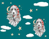 Dog with long ears in a red hat with stars around royalty free illustration