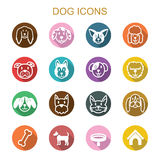 Dog long shadow icons. Flat vector symbols Royalty Free Stock Images
