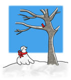 Dog looking at bird in tree. An illustration of a dog sculpted out of snow looking at a red cardinal bird in a tree stock illustration