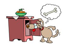 Dog looking for bones. A snooping toon dog looking for bones in a cupboard Royalty Free Stock Photo