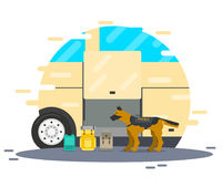 The dog is looking for drugs. A police dog is looking for a bomb and drugs at a bus stop. Vector illustration Stock Image