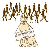 Dog looking for owner. stock illustration