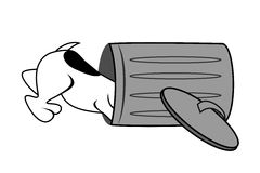 Dog Looking Into Trash Can. Cartoon illustration of a dog looking into a gray garbage bin lying on its side with lid leaning against it stock illustration