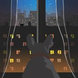 View from the window. Vector format. The dog looks out the window at the evening northern city. Vector format royalty free illustration