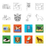 A dog in a lounger , a muzzle of a pet, a bowl with a feed, a sheepdog with a ball in his teeth. Pet ,dog care set. Collection icons in outline,flat style Royalty Free Stock Photos
