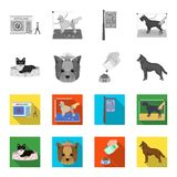 A dog in a lounger , a muzzle of a pet, a bowl with a feed, a sheepdog with a ball in his teeth. Pet ,dog care set. Collection icons in monochrome,flat style Royalty Free Stock Images