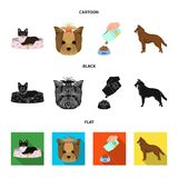 A dog in a lounger , a muzzle of a pet, a bowl with a feed, a sheepdog with a ball in his teeth. Pet ,dog care set. A dog in a lounger , a muzzle of a pet, a Royalty Free Stock Image