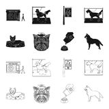 A dog in a lounger , a muzzle of a pet, a bowl with a feed, a sheepdog with a ball in his teeth. Pet ,dog care set. Collection icons in black,outline style Royalty Free Stock Image