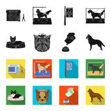 A dog in a lounger , a muzzle of a pet, a bowl with a feed, a sheepdog with a ball in his teeth. Pet ,dog care set. Collection icons in black,flet style vector Stock Photo