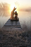 Dog Love Cat, Romantic Sunset. Abstract concept illustration of love between a dog and a cat. The loving couple sit on a pier by the water and enjoy nature and a Stock Photography