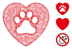 Dog Love Heart Polygonal Web Vector Mesh Illustration