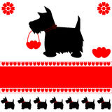 Dog love hearts card. Scottie dog silhouette love hearts greeting card, ideal for Valentine's day, with space for copy, vector Royalty Free Stock Photography