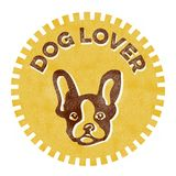 Dog Lover badge. Textured banner with a dog on it that reads Dog Lover Stock Image
