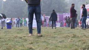 Dog lover celebrating & enjoying Pet Fed Fair. Dog lover celebrating & enjoying Pet Fed dog fair with their pet dogs held in December at Delhi pet fed 2016 stock video footage