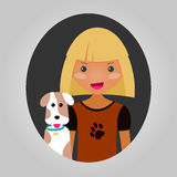 Dog lover character. Vector unisex personage for site or application. Stock Image