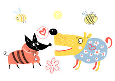 Dog lovers. Funny dog lovers on a white background with bees vector illustration