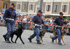 Dog lovers of the Italian Police Royalty Free Stock Images