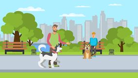 Dog Lovers Walk Flat Color Vector Illustration vector illustration