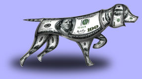 Dog made from dollars. This is hunting dog made of dollars. He stood up in a hunting stand Royalty Free Stock Image