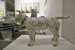 Dog made of money in window of store in New York City, New York Stock Images