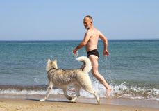 Dog and man Royalty Free Stock Photos