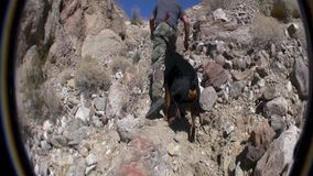 Dog and Man Climbing to Wind Caves. Anza Borrego Desert State Park California stock video