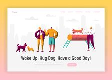 Dog and Man Spend Time Together Landing Page. Owner Training Command Different Funny Dog. Happy Man Play with Pet stock illustration