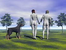 Dog and man and woman Royalty Free Stock Image