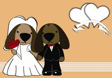 Dog married cartoon background Stock Images